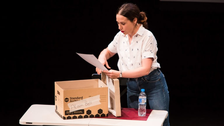Alison Bell performs NASSIM - reading the script blind - on its opening night in Melbourne, January 2018.