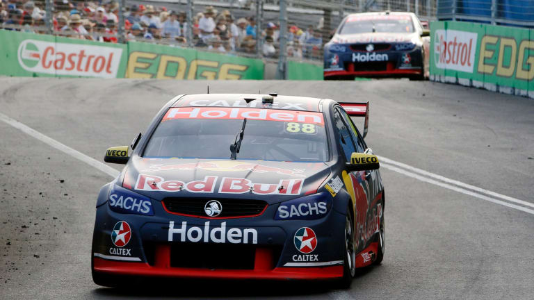 Bull's roar: Jamie Whincup drives his Holden Commodore VF to victory.