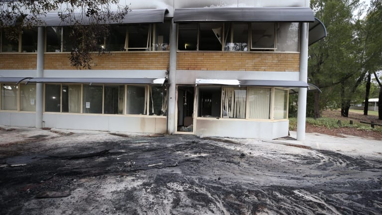 Clean up: The front of the Australian Christian Lobby office in Canberra on Tuesday morning.