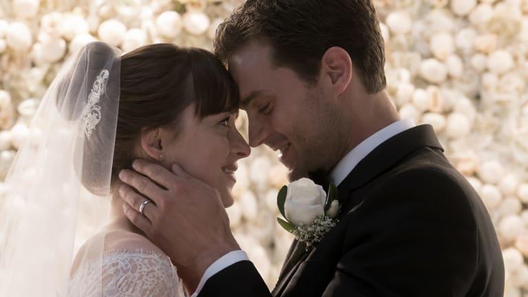 Ana (Dakota Johnson) and Christian (Jamie Dornan) are married in <i>Fifty Shades Freed</i>.