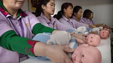 Nanies-in-training: China is hoping to rebalance its aging population in order to stave off a demographic crisis.