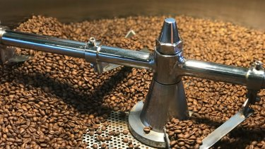 Coffee beans roasting at Stash Coffee's Denmark roasting shed.