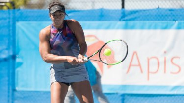 Destanee Aiavain in action at the Canberra International on Thursday.