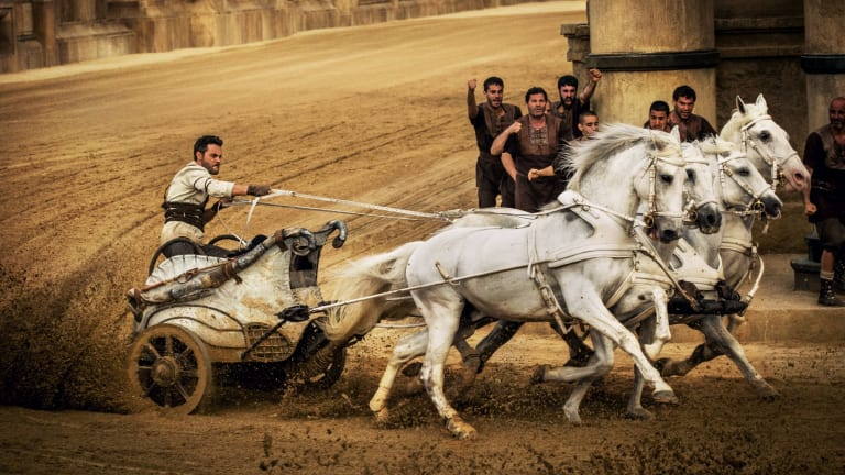 Feeling the power: Jack Huston as Judah Ben-Hur racing his chariot.