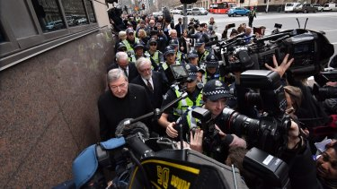 Cardinal George Pell to leaves the Melbourne Magistrates Court.