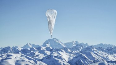 A Project Loon balloon floats above a remote area of New Zealand during last year's test.