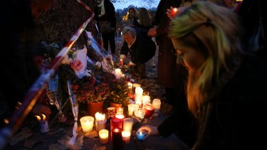 A makeshift memorial near the Bataclan concert hall in Paris.
