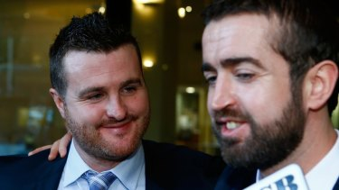 Barry Lyttle and his brother Patrick leave court after Barry received a suspended sentence.
