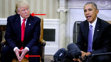 Indications of body language cues in the first meeting between Donald Trump and Barack Obama.