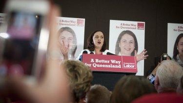 Labor leader Annastacia Palaszczuk addresses supporters.
