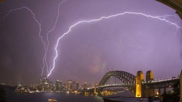 Lightning strikes Sydney Tower.