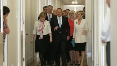 A sense of deja vu: Prime Minister Tony Abbott arrives for the party room meeting ahead of the spill motion on Monday.