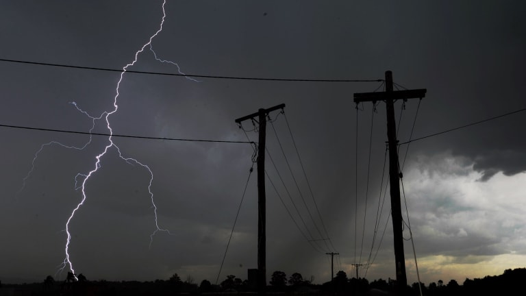 Lightning hammers the Hawkesbury on Wednesday afternoon.