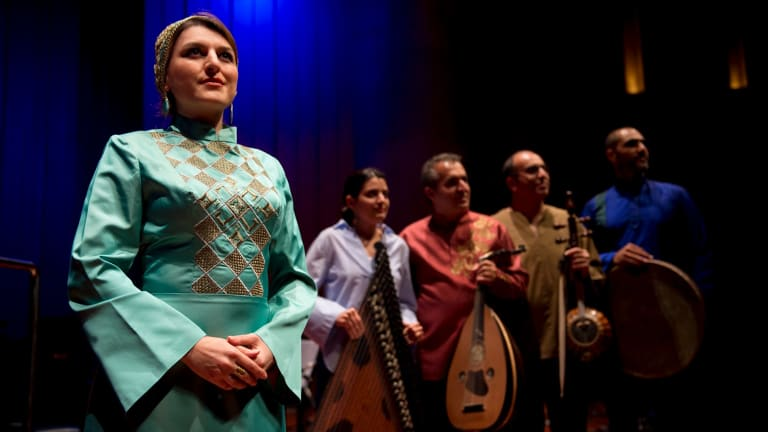 Malihe Maradi, Vahideh Eisaei, Salar Ayoubi, Mansour Azadfekr and Esfandiar Shahmir at opening night of the Multicultural festival.