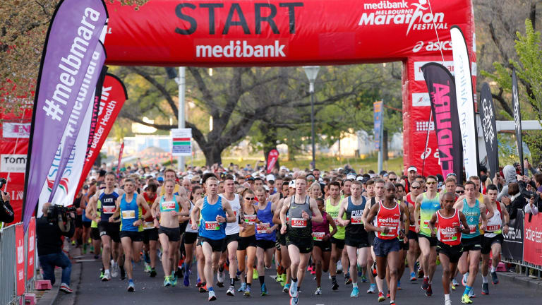 Fast starters: The Melbourne Marathon gets underway.