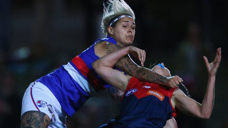 Collingwood's Moana Hope goes hard as a Bulldog in last year's highly successful exhibition match. She'll be a headline attraction in the season proper.