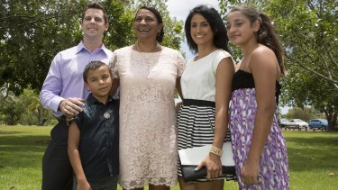 Peris when she was successfully endorsed as the Labor Party's top pic for the senate, with her family, Scott Appleton, son Jack and daughters Destiny and Jessica.