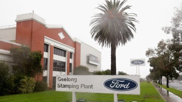 The old Ford Plant on Princes Highway greets drivers as they head into Geelong.
