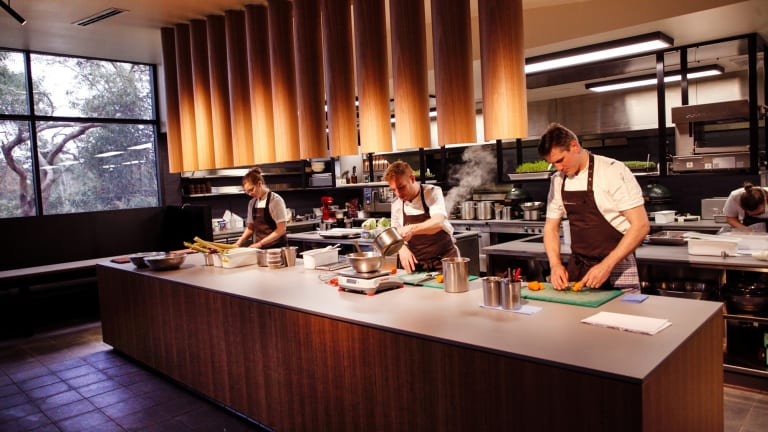 Robin Wickens, centre, in the new Wickens at the Royal Mail kitchen.