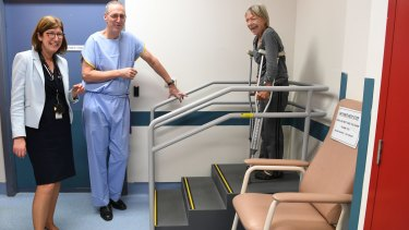 Professor Jaqueline Close, Professor Ian Harris and hip fracture patient Rhonda Wilson at Prince of Wales Hospital.