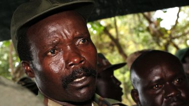 Leader of the Lord's Resistance Army, Joseph Kony, answers journalists' questions in 2006.