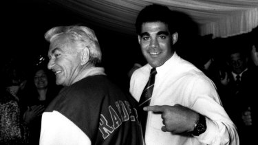 Mal Meninga points to his 'honorary Raider' Bob Hawke.