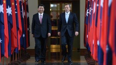 Prime Minister Tony Abbott hosting China's President Xi Jinping last month.