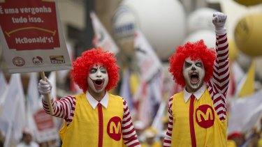 McDonald's protesters in Sao Paulo, Brazil.