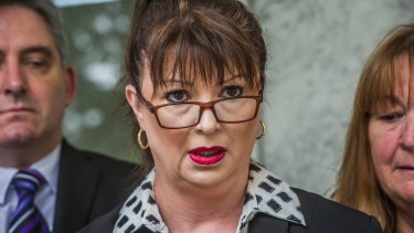 Daniela D'Addario's sister Fiona Knight speaks outside the ACT Supreme Court on Friday.