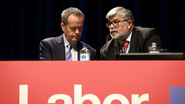 Opposition Leader Bill Shorten and Senator Kim Carr during the ALP National Conference in July 2015.