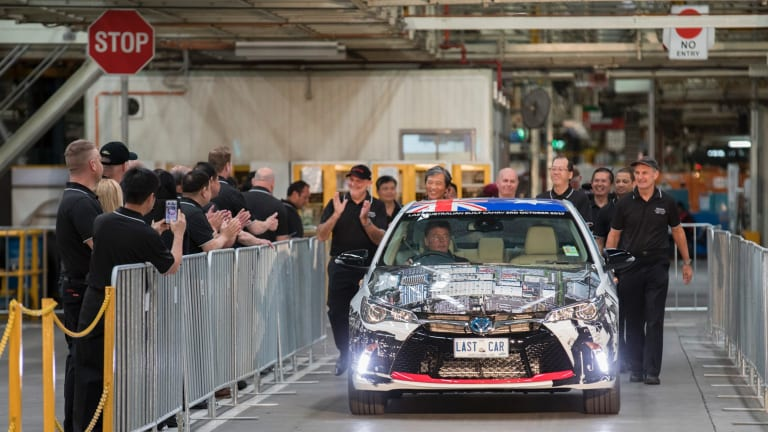 The last car built in Victoria – a Camry – being made and rolled off production line in early October.