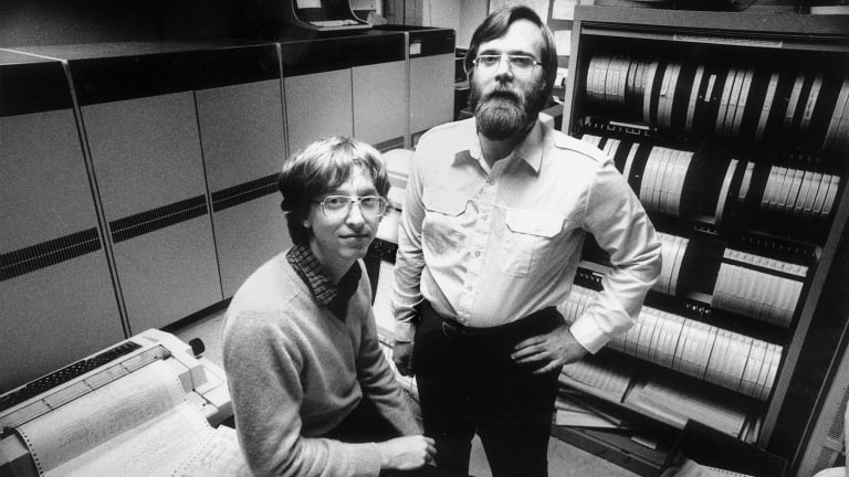 Microsoft founders Bill Gates, left, and Paul Allen in their office in Bellevue, Washington in 1981.