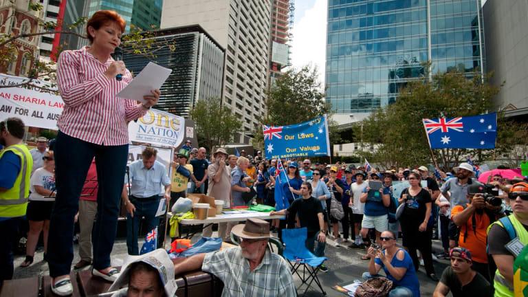 One Nation founder Pauline Hanson addresses the Reclaim Australia rally in Brisbane.