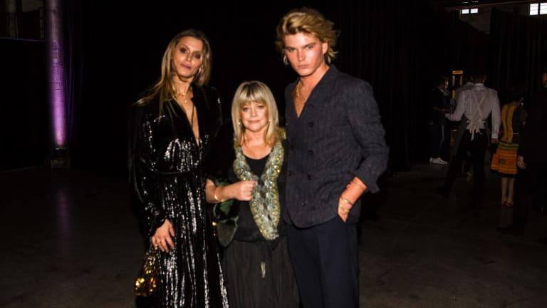 Jordan Barrett with his mum Julie Barrett and friend Cheyenne Tozzi.