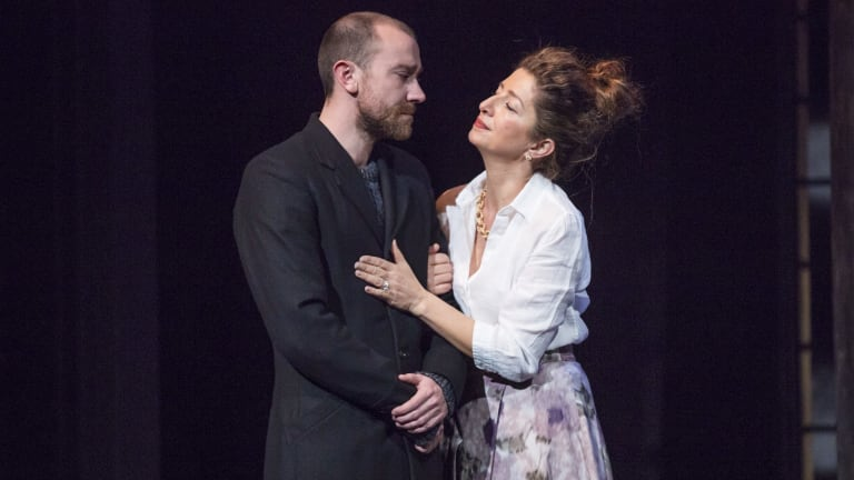Mother and son: Josh McConville (Hamlet) and Doris Younane (Gertrude) in the Bell Shakespeare production of <i>Hamlet</i>.