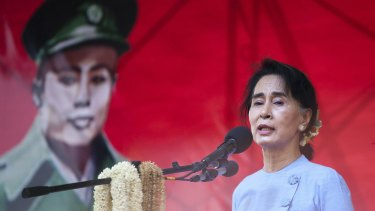 Myanmar pro-democracy leader Aung San Suu Kyi at a rally on Sunday.