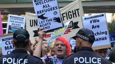 Hundreds of people took to the streets to protest against the Australia government's treatment of refugees in Papua New Guinea.