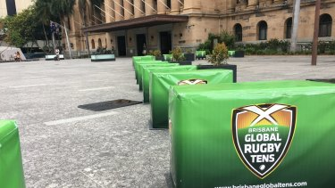 The temporary security barriers in King George Square were installed before Christmas.
