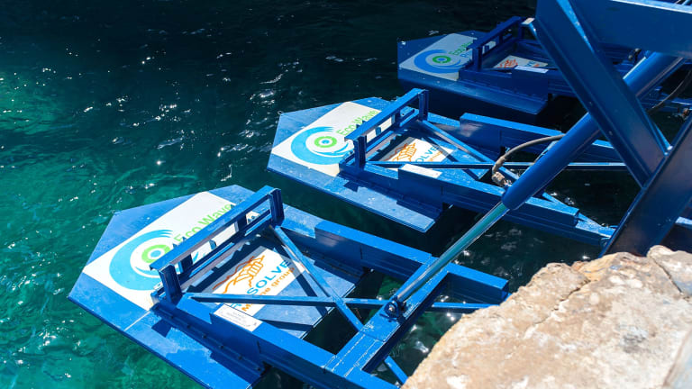 Eco Wave Power's wave converters attach to existing onshore structures.