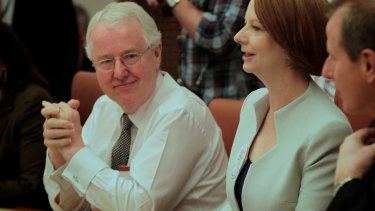 Terry Moran, left, former secretary of the Department of the Prime Minister and Cabinet with former Prime Minister Julia Gillard.
