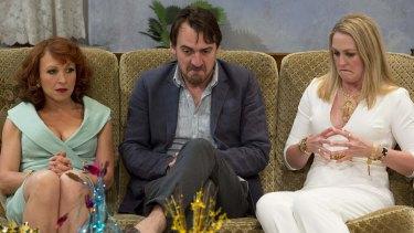 Blazey Best (left), Ewen Leslie and Helen Thomson in Belvoir's Ivanov, which has been nominated for seven Sydney Theatre Awards.