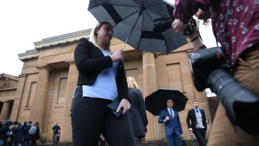 Jessica McNamara, here seen outside the court, apparently blew kisses to her father during the sentencing.