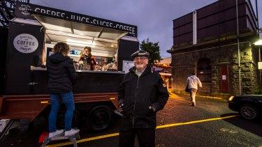 Ray Magid at his coffee cart at Kyneton Railway Station.