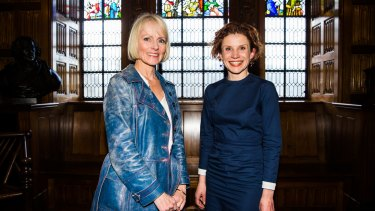Lucy Treloar (left) and Fiona Wright, winners of the Kibble Awards for women's life writing, at the State Library of NSW after the awards presentation.