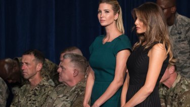 Ivanka Trump and first lady Melania Trump at Fort Myer.