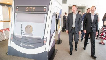 ACT Chief Minister Andrew Barr and Capital Metro Minister Simon Corbell.