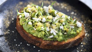 Avo corriander smash with Persian feta and preserved lemon.
