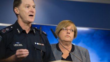 Victoria's acting police chief Shane Patton and Police Minister Lisa Neville address the media this week about African gangs in Melbourne.
