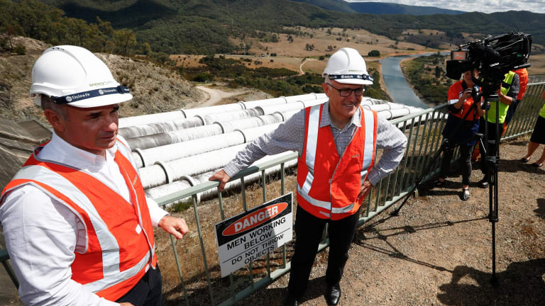 Prime Minister Malcolm Turnbull with Snowy Hydro CEO Paul Broad during his tour of the Snowy Hydro Tumut 3 power station in Talbingo, NSW.