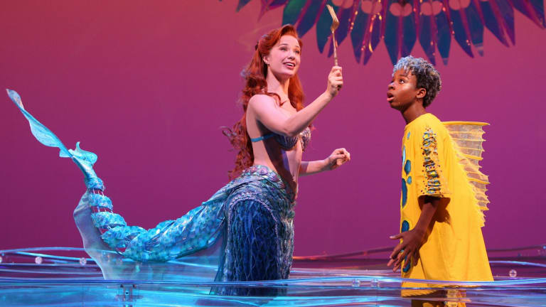 Sierra Boggess (left) with J.J. Singleton in The Little Mermaid.